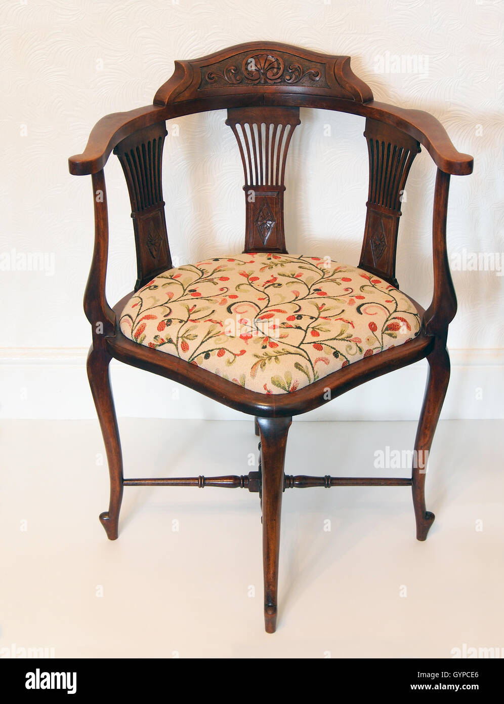 Edwardian Corner Chair With Turned Stretchers, A Tapestry Seat And Carved  Splats And Back