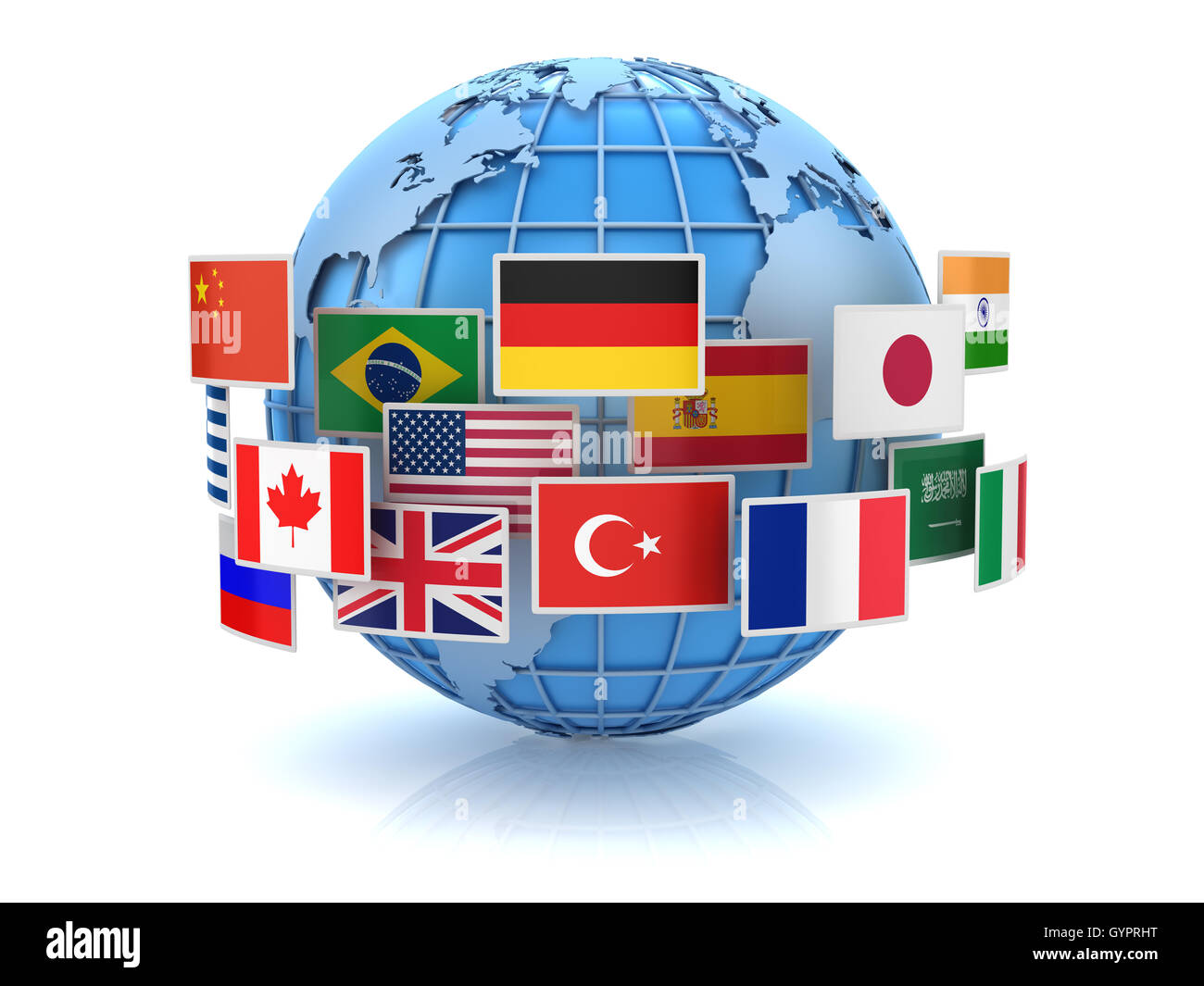 World map and country flags this is a 3d computer generated world map and country flags this is a 3d computer generated image isolated on white gumiabroncs Gallery