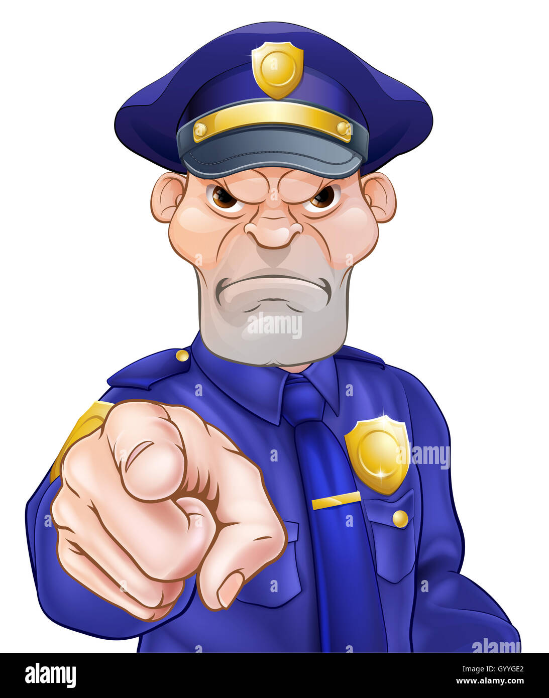 angry cartoon police officer policeman pointing stock photo