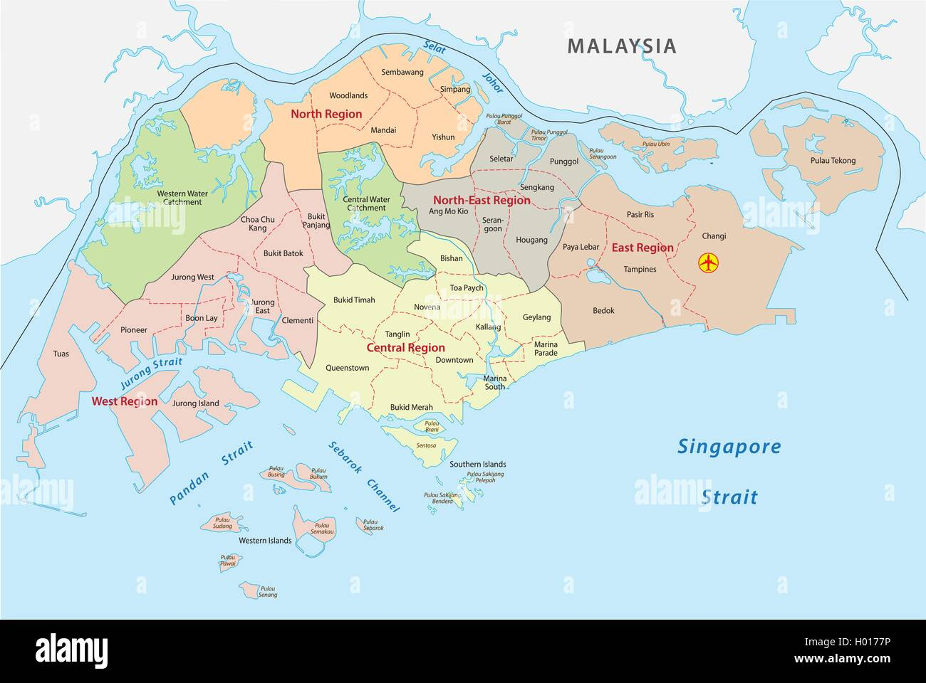 Administrative divisions map of the Republic of Singapore Stock