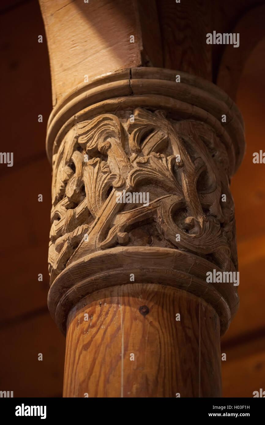 Viking wood carving on column in wang church karpacz