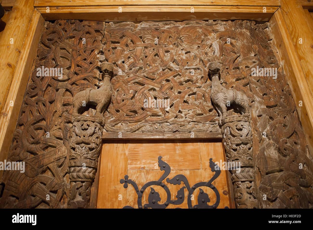 Viking wood carving in wang church karpacz poland vang