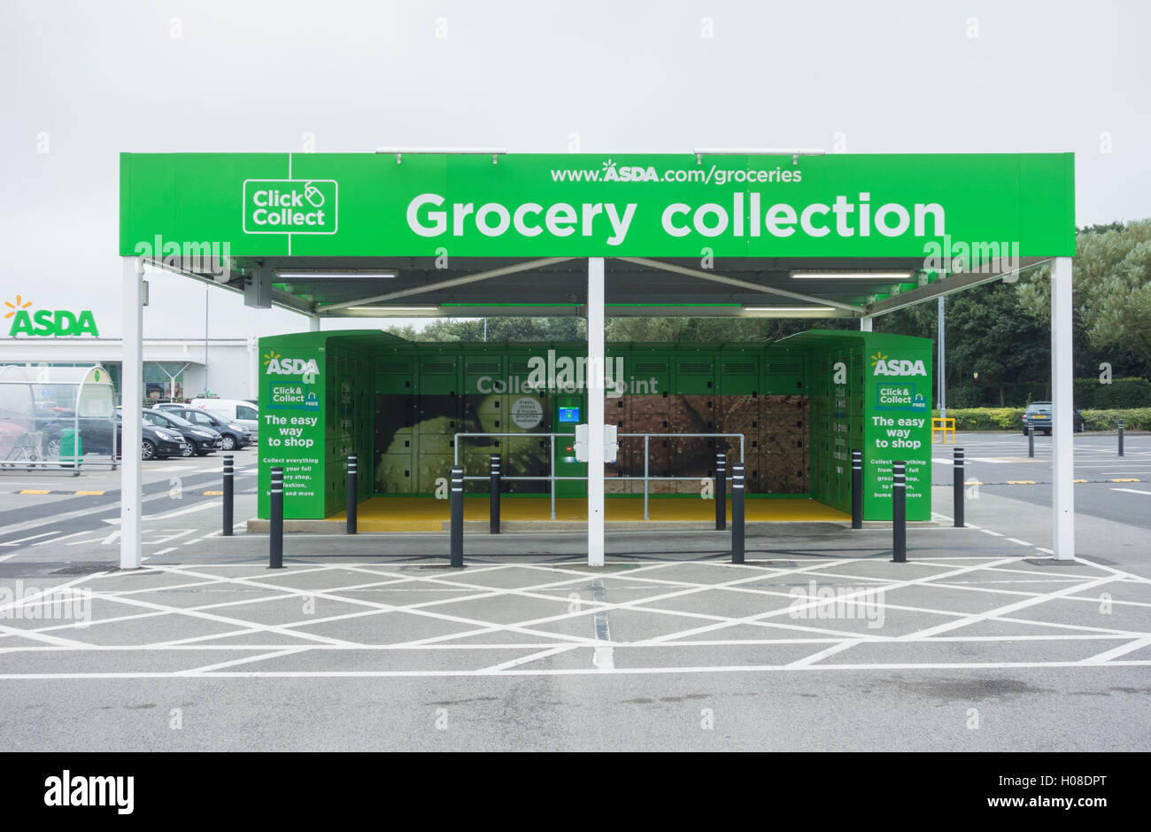 click and collect grocery collection point in asda store car park stock photo royalty free. Black Bedroom Furniture Sets. Home Design Ideas