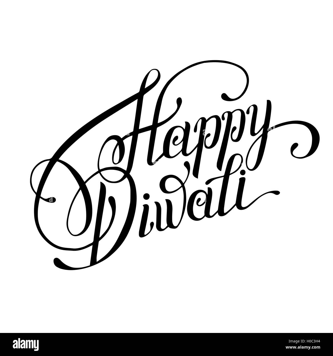 Hand lettering inscription happy diwali to indian fire