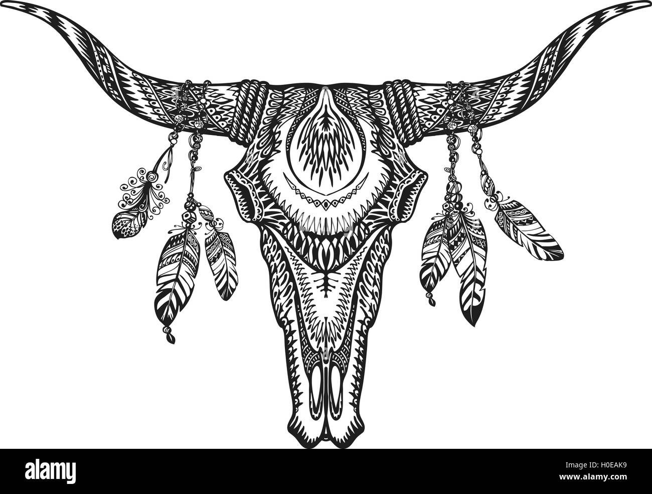 line decorative drawing of indian cow head floral stylized stock