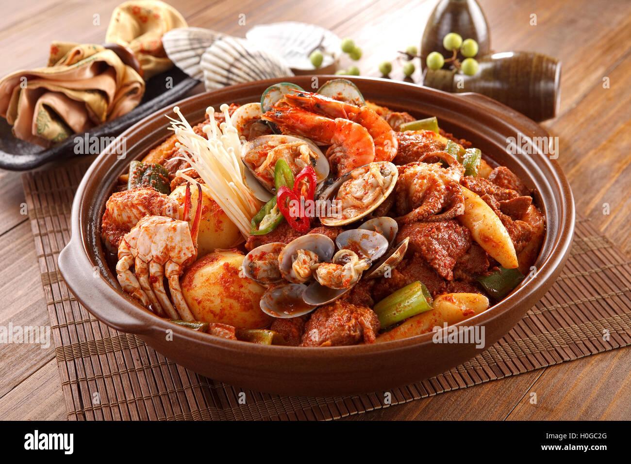 Big Bowl Of Spicy Seafood Galbijjim With Clams Shrimp Octopus Crab Potatoes