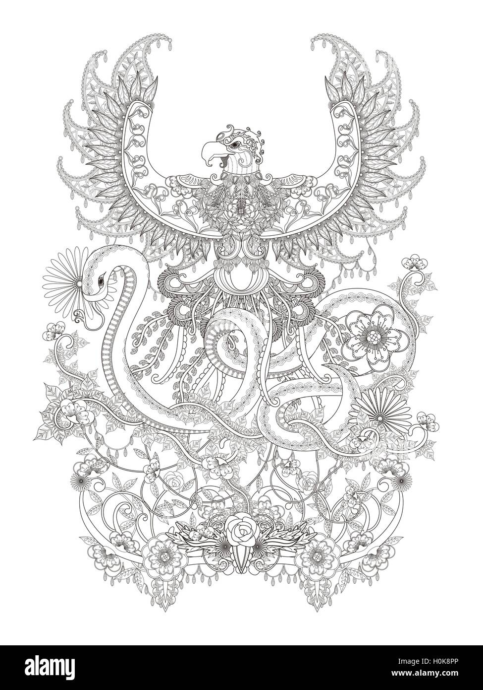 gorgeous coloring page eagle spread it u0027s wings with snake