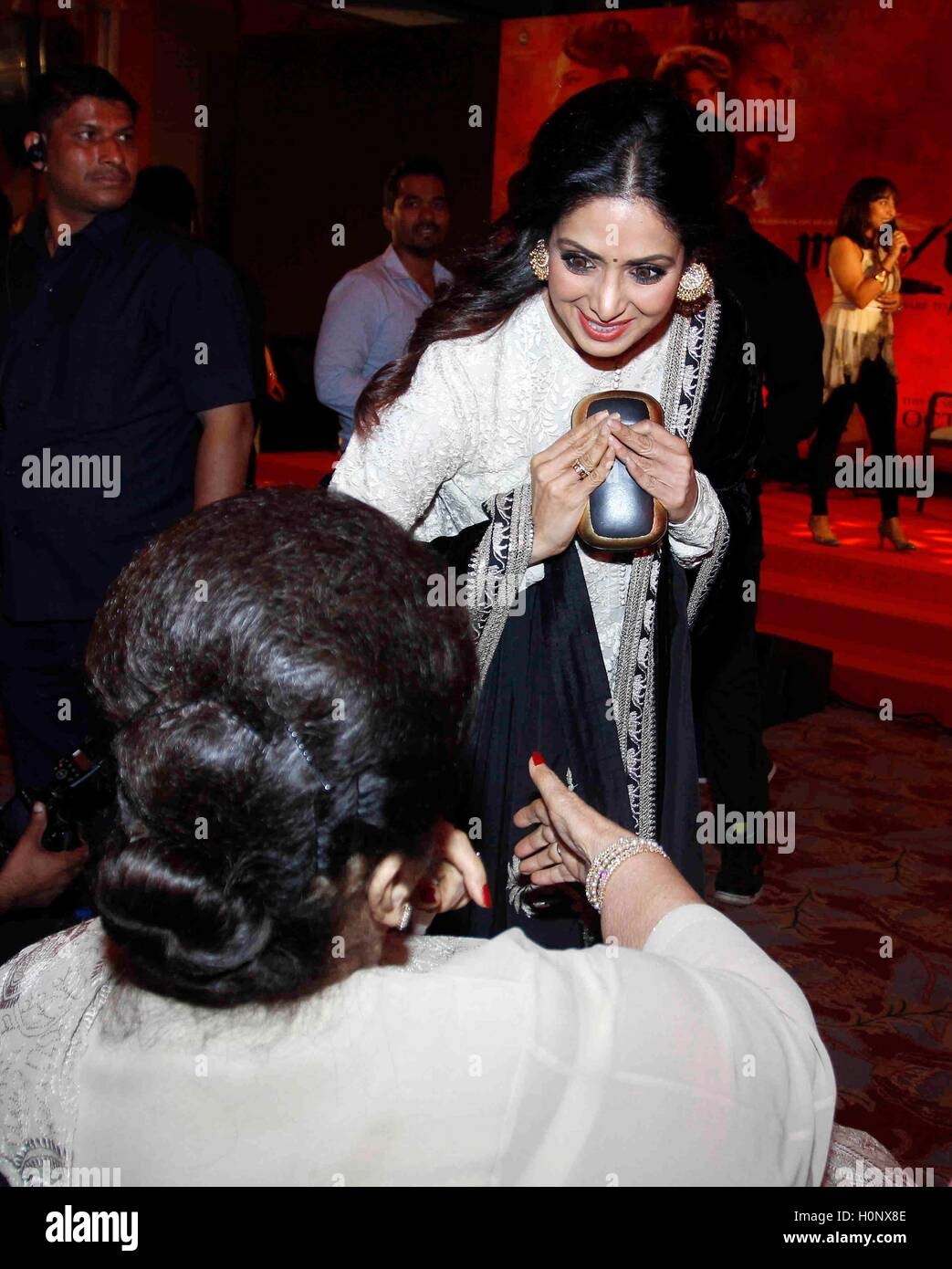 Bollywood actor Sridevi greets her mother in law Nirmal ...
