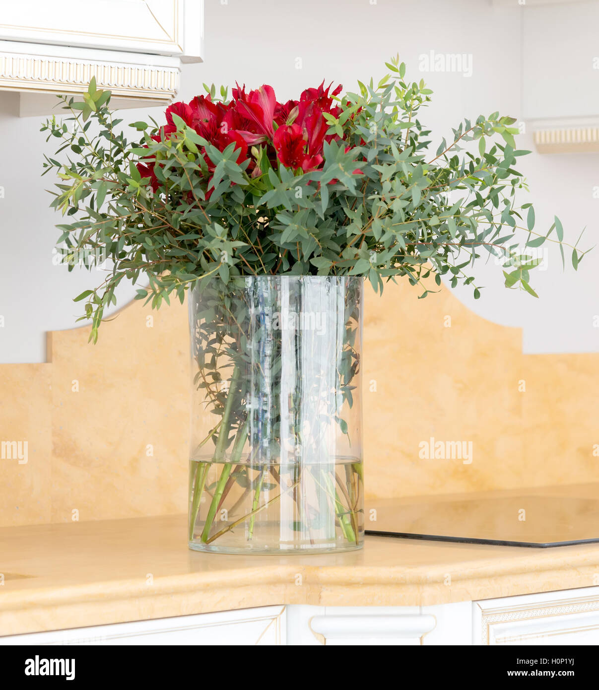 The beautiful flower arrangement in clear glass vase stock photo the beautiful flower arrangement in clear glass vase reviewsmspy