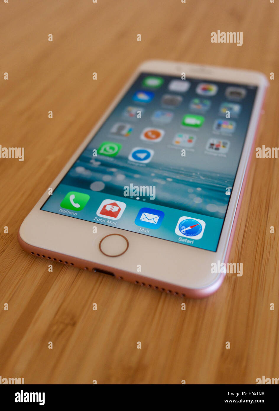 apple iphone 7 plus rose gold. stock photo - view of iphone 7 plus rose gold. the is new smartphone produced by apple computer, inc iphone gold