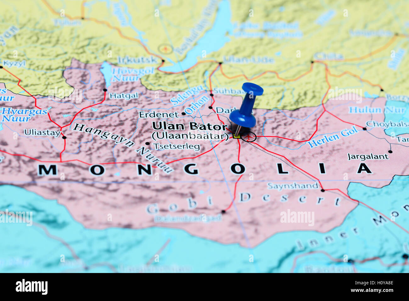Ulan Bator Pinned On A Map Of Mongolia Stock Photo Royalty Free - Map of mongolia