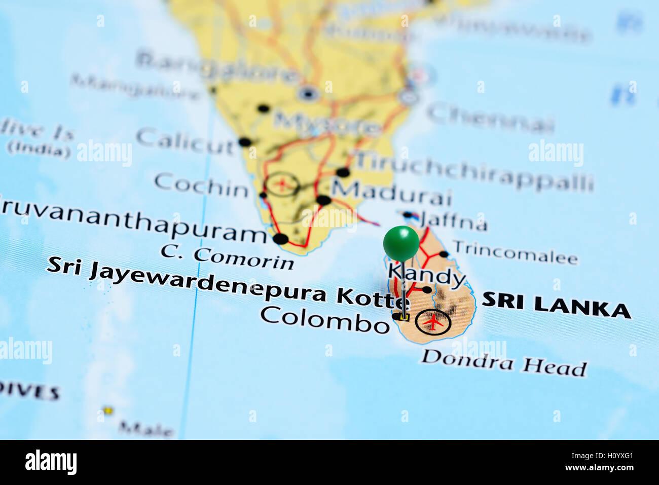 Sri Jayewardenepura Kotte pinned on a map of Sri Lanka Stock Photo