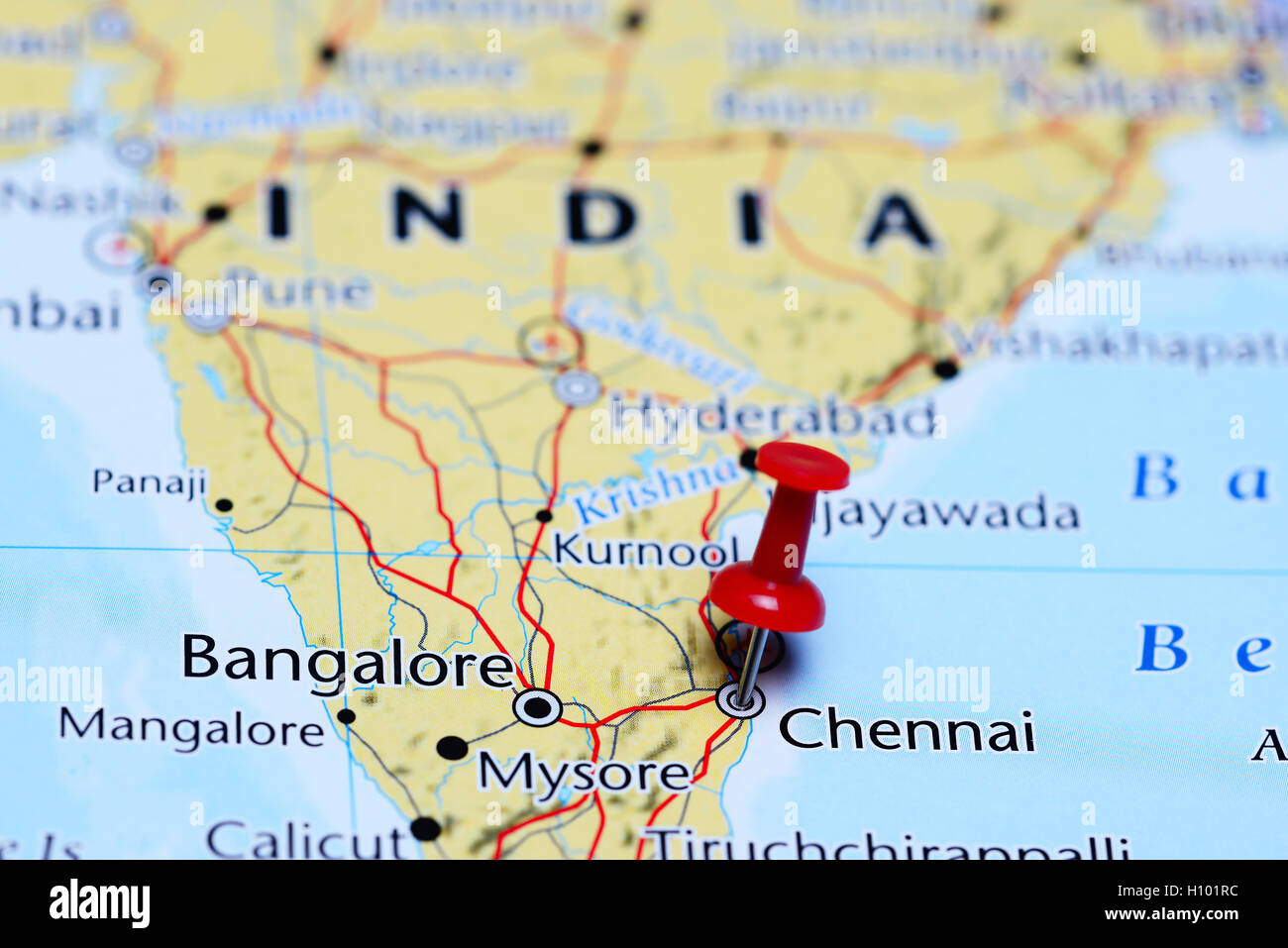 chennai pinned on a map of india stock photo royalty free image