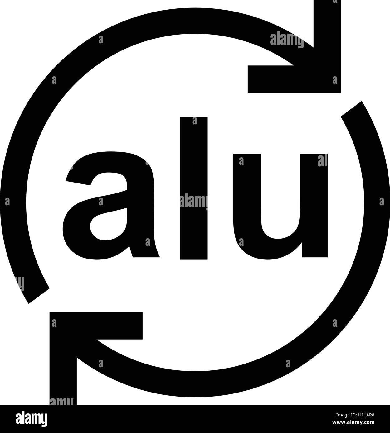 Mobius symbol black and white stock photos images alamy aluminium recycling symbol alu metals recycling code alu vector illustration stock image buycottarizona Image collections