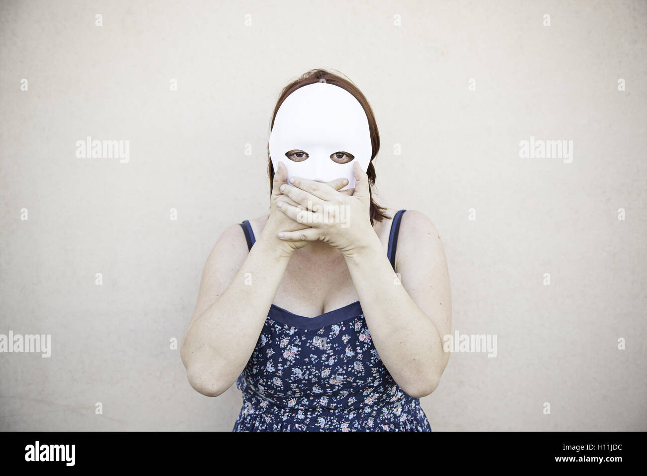 Girl in white mask on halloween, mystery Stock Photo, Royalty Free ...