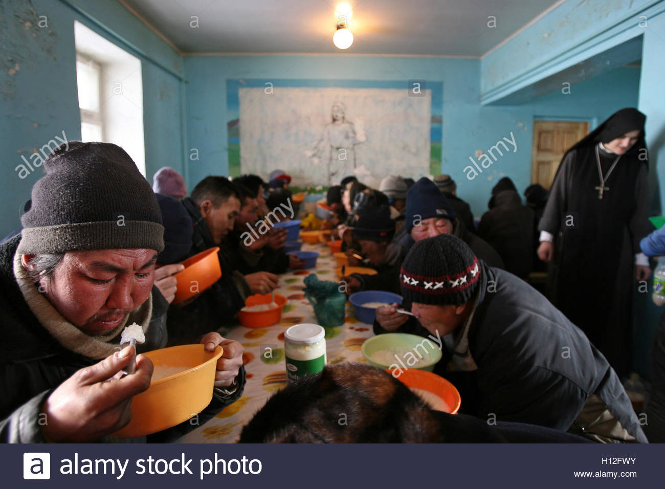 Soup Kitchen Meal Mongolians Receive A Free Meal Distributed By Nuns At A Soup