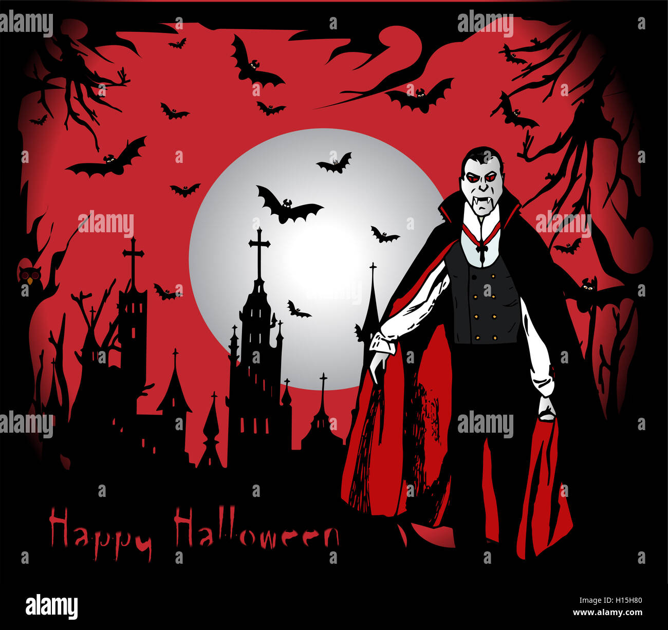 Happy Halloween background with Dracula and castle illustration ...