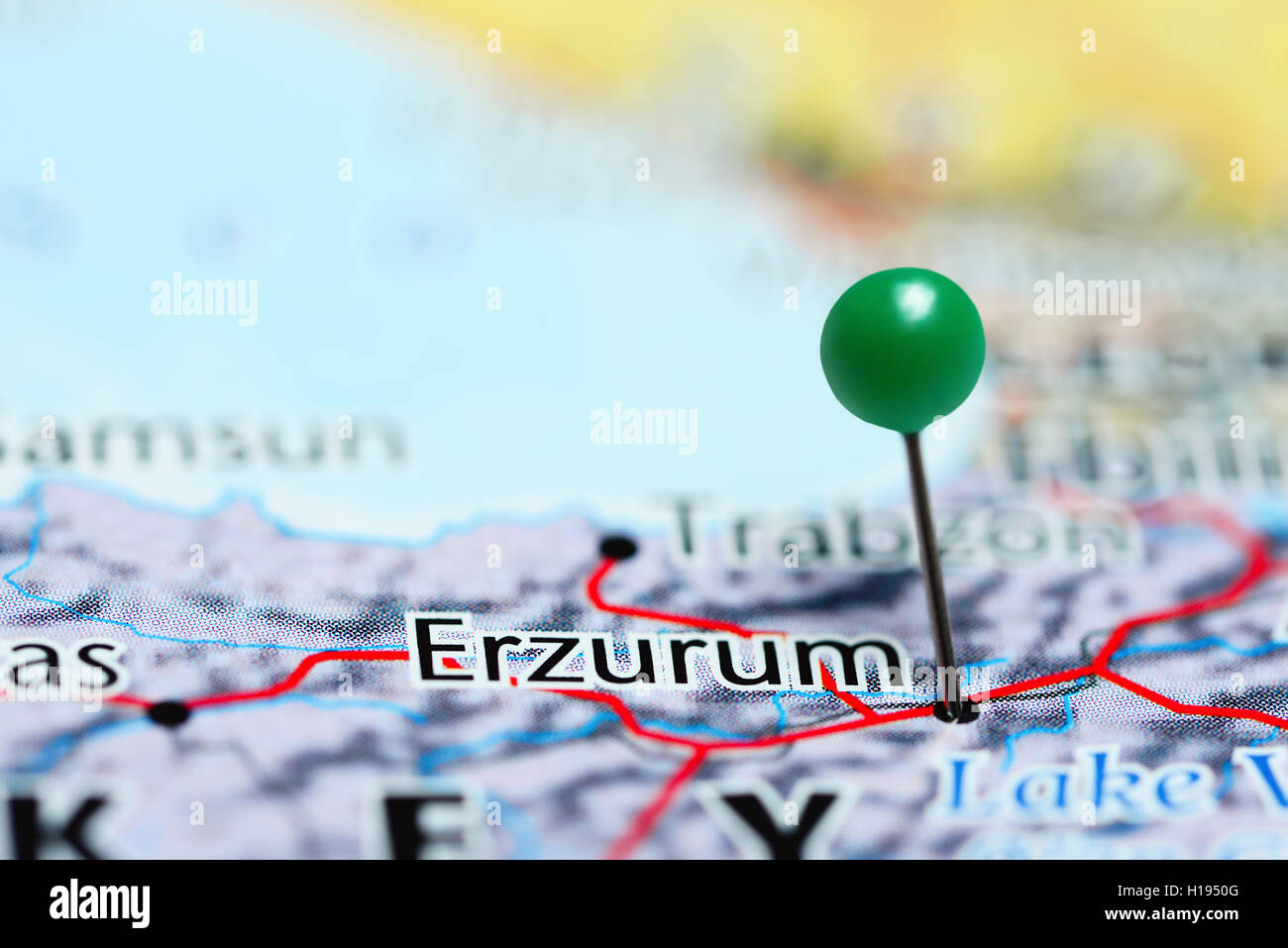 Erzurum pinned on a map of Turkey Stock Photo Royalty Free Image