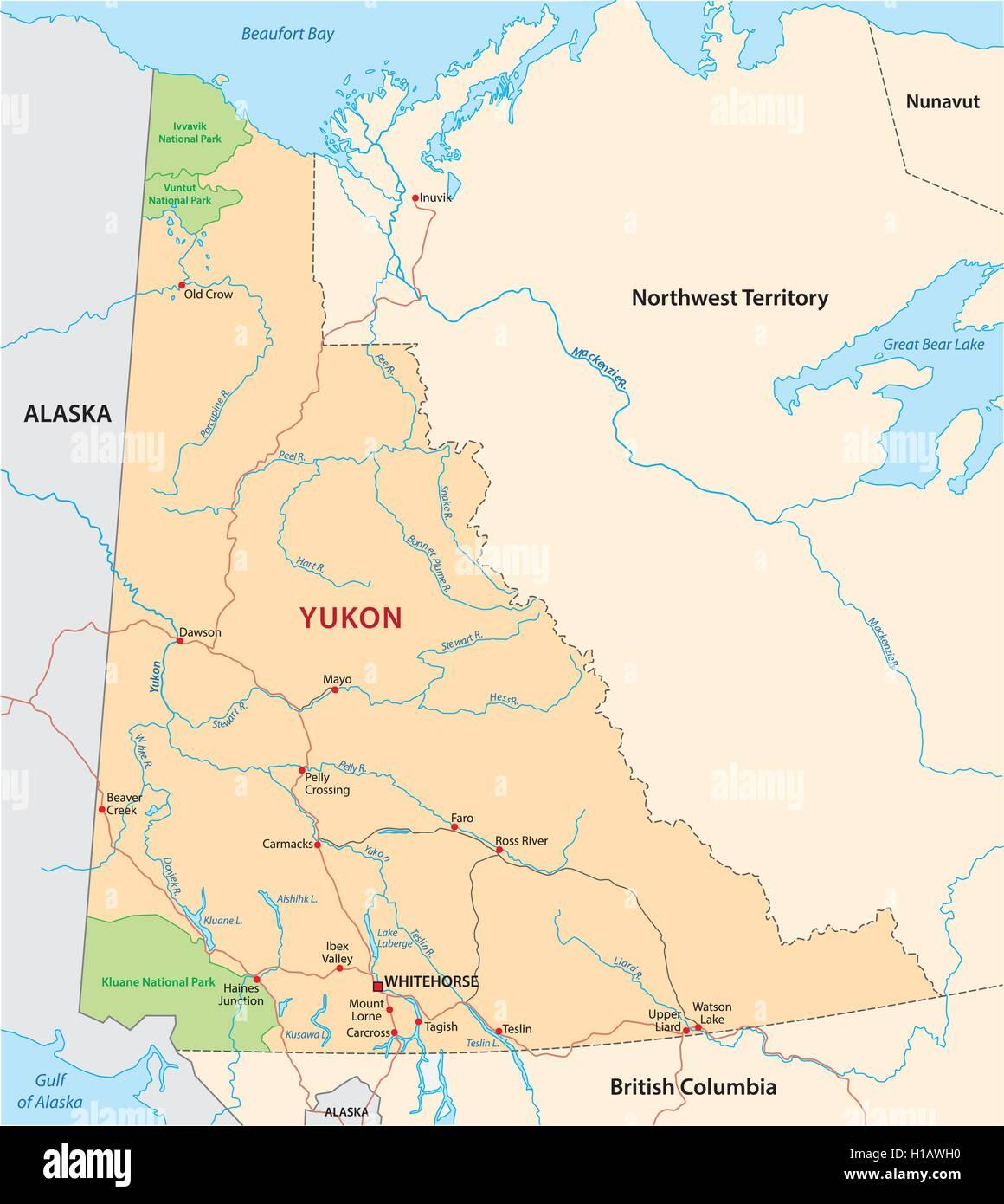 yukon road map Stock Vector Art Illustration Vector Image