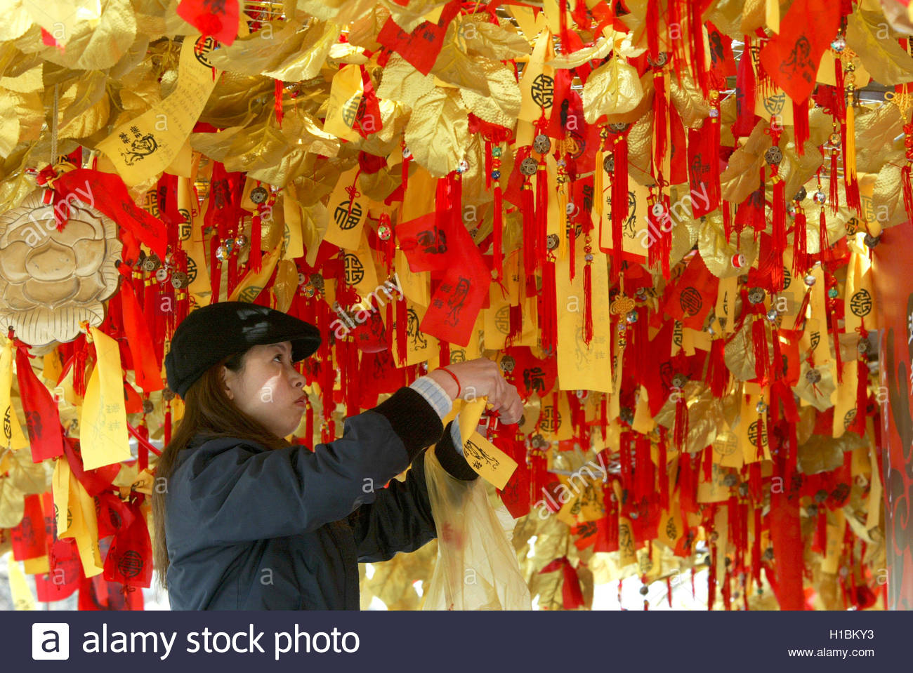 Outside ornaments - A Chinese Woman Hangs Ornaments For Well Wishes On A Good Luck Tree Outside A Temple In Shanghai February 8 2004 Ornament Hanging Is A Popular Chinese