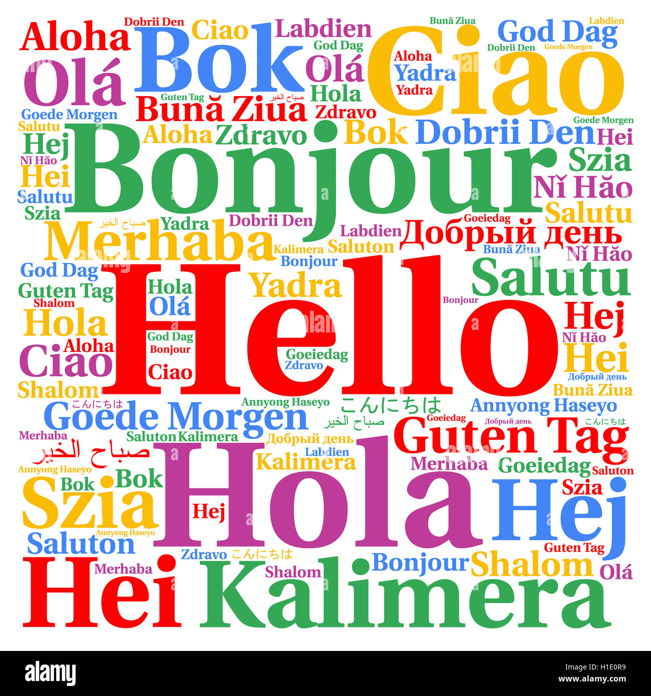 Hello in different languages word cloud Stock Photo, Royalty Free ...