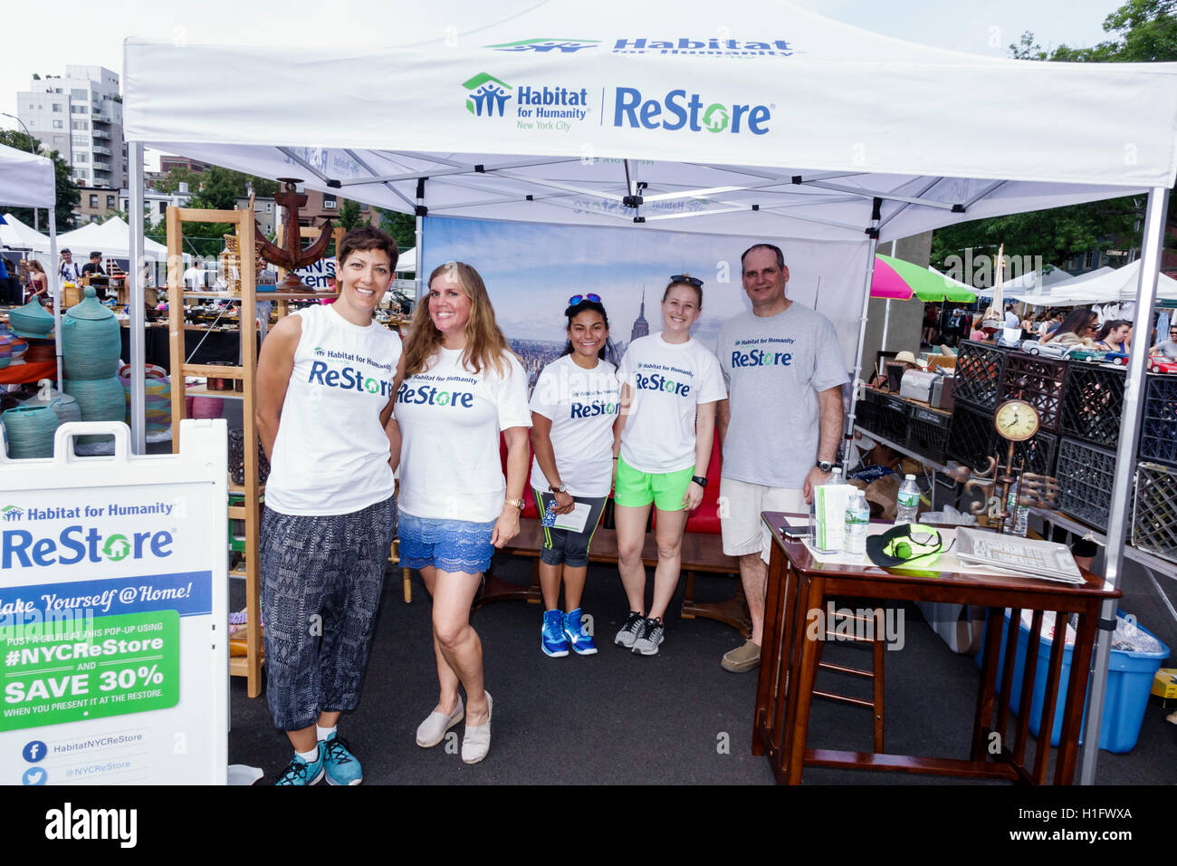 Brooklyn New York City NYC NY Fort Greene Flea Market open-air market vendor tent ReStore Habitat for Humanity nonprofit organization furniture shoppi & Brooklyn New York City NYC NY Fort Greene Flea Market open-air ...