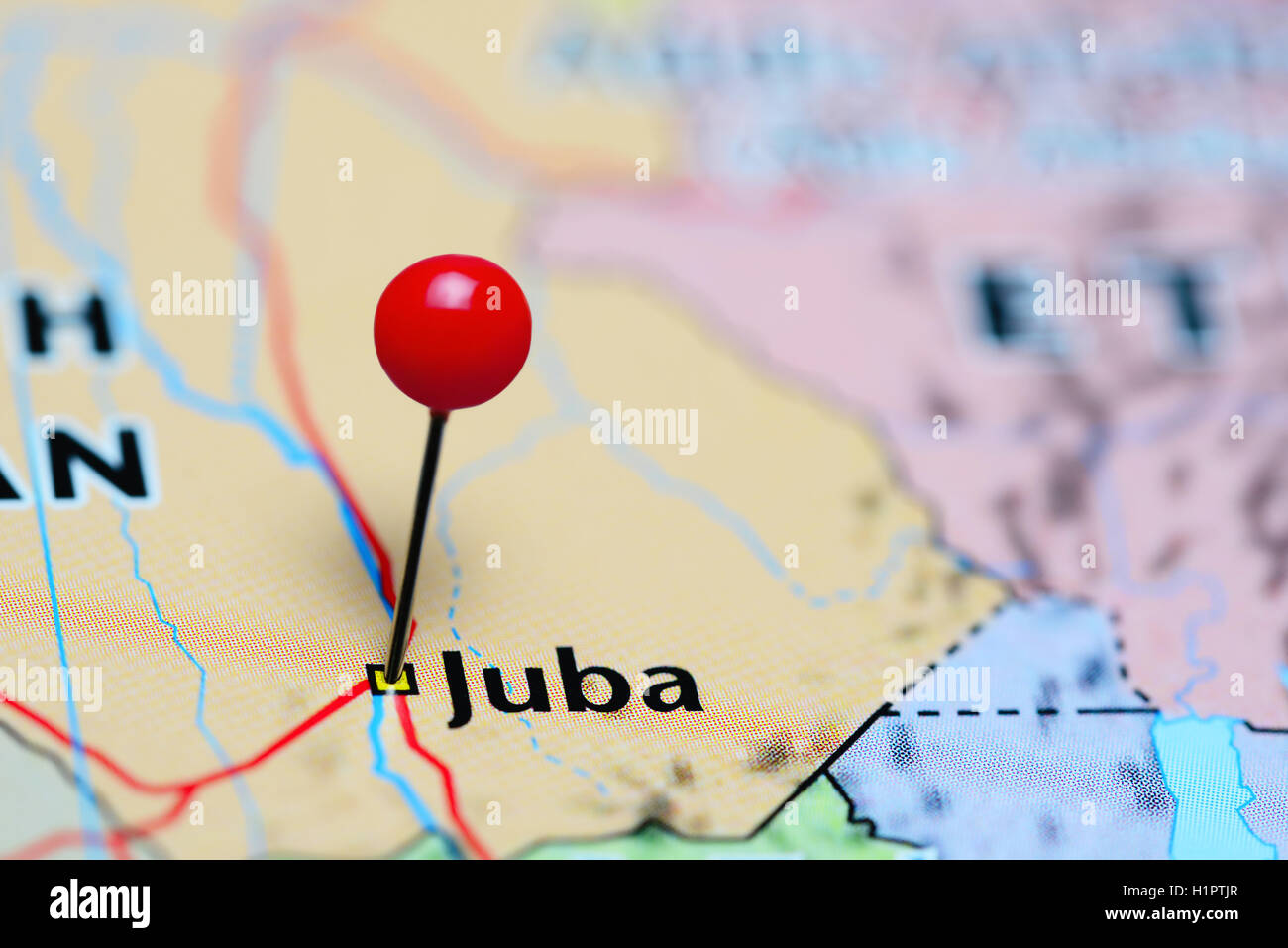 Juba pinned on a map of South Sudan Stock Photo Royalty Free Image