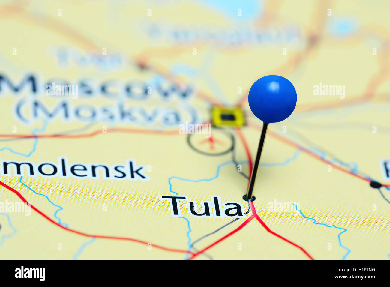 Tula pinned on a map of Russia Stock Photo Royalty Free Image