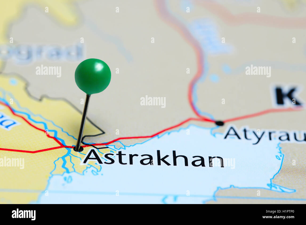 Astrakhan pinned on a map of Russia Stock Photo Royalty Free Image