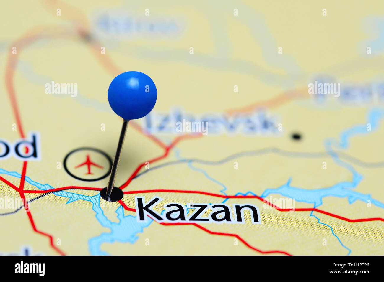 Kazan pinned on a map of Russia Stock Photo Royalty Free Image
