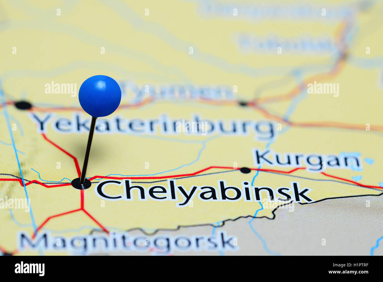 Chelyabinsk pinned on a map of Russia Stock Photo Royalty Free