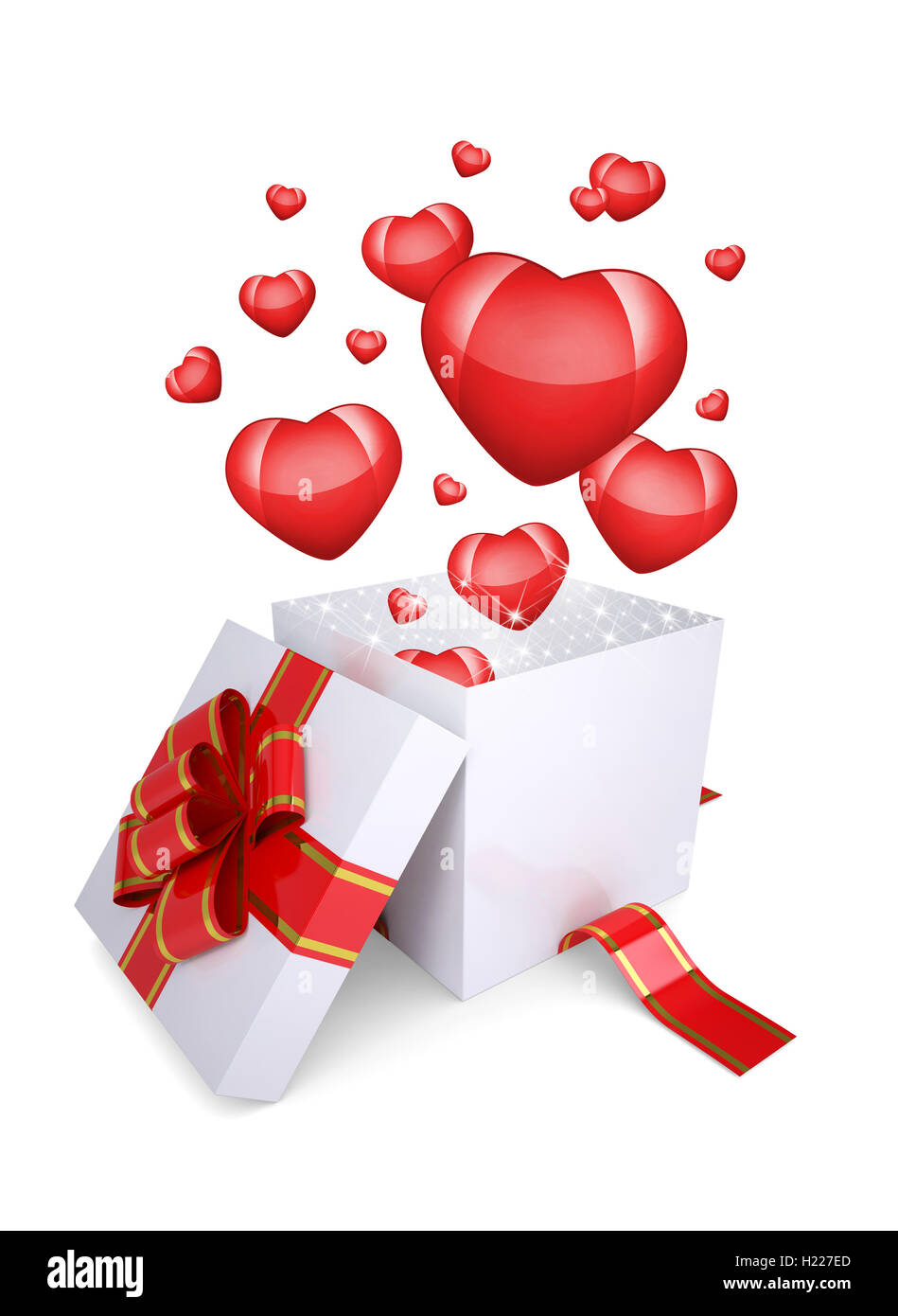Red hearts fly out of an open gift box stock photo 121751685 alamy red hearts fly out of an open gift box negle Gallery