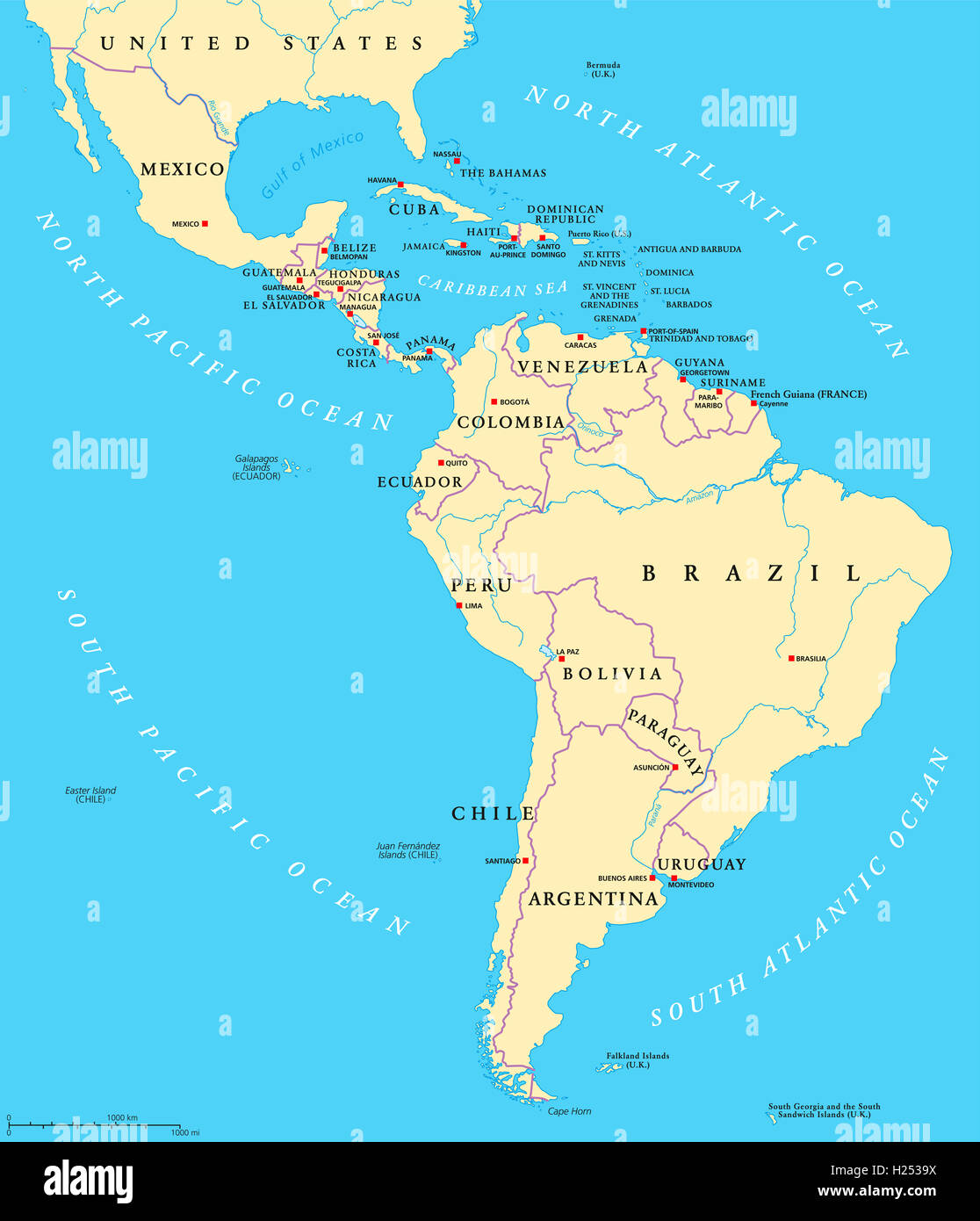 Latin America Political Map With Capitals, National Borders, Rivers And  Lakes  Stock