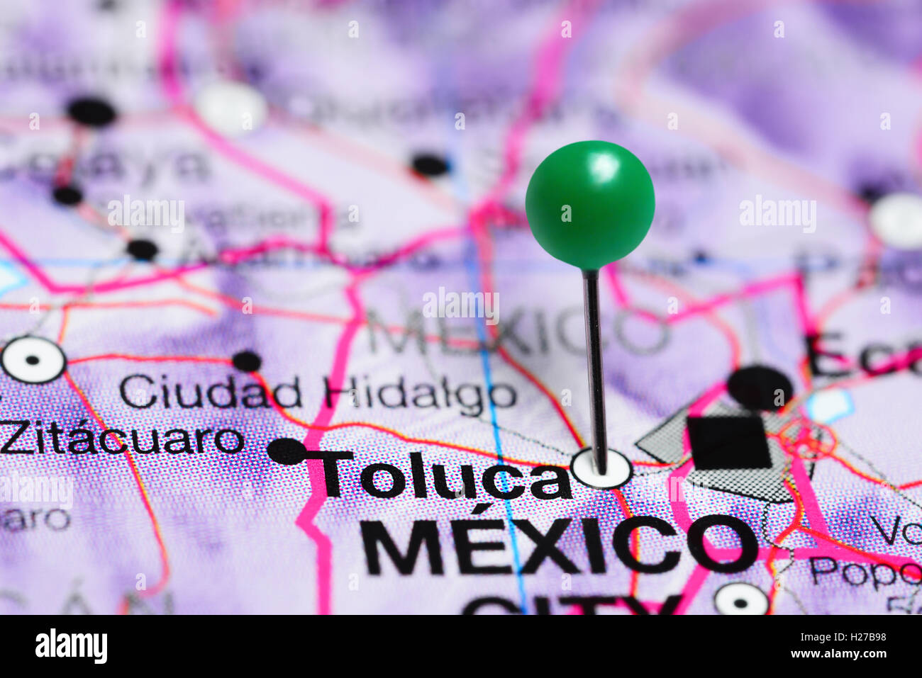 Toluca pinned on a map of Mexico Stock Photo Royalty Free Image