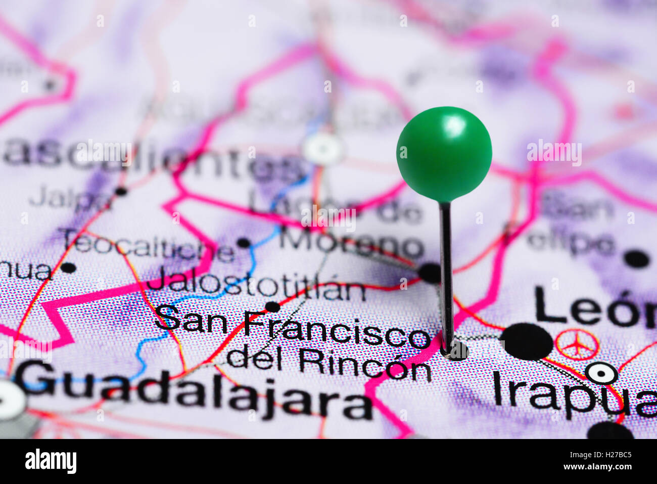 San Francisco del Rincon pinned on a map of Mexico Stock Photo