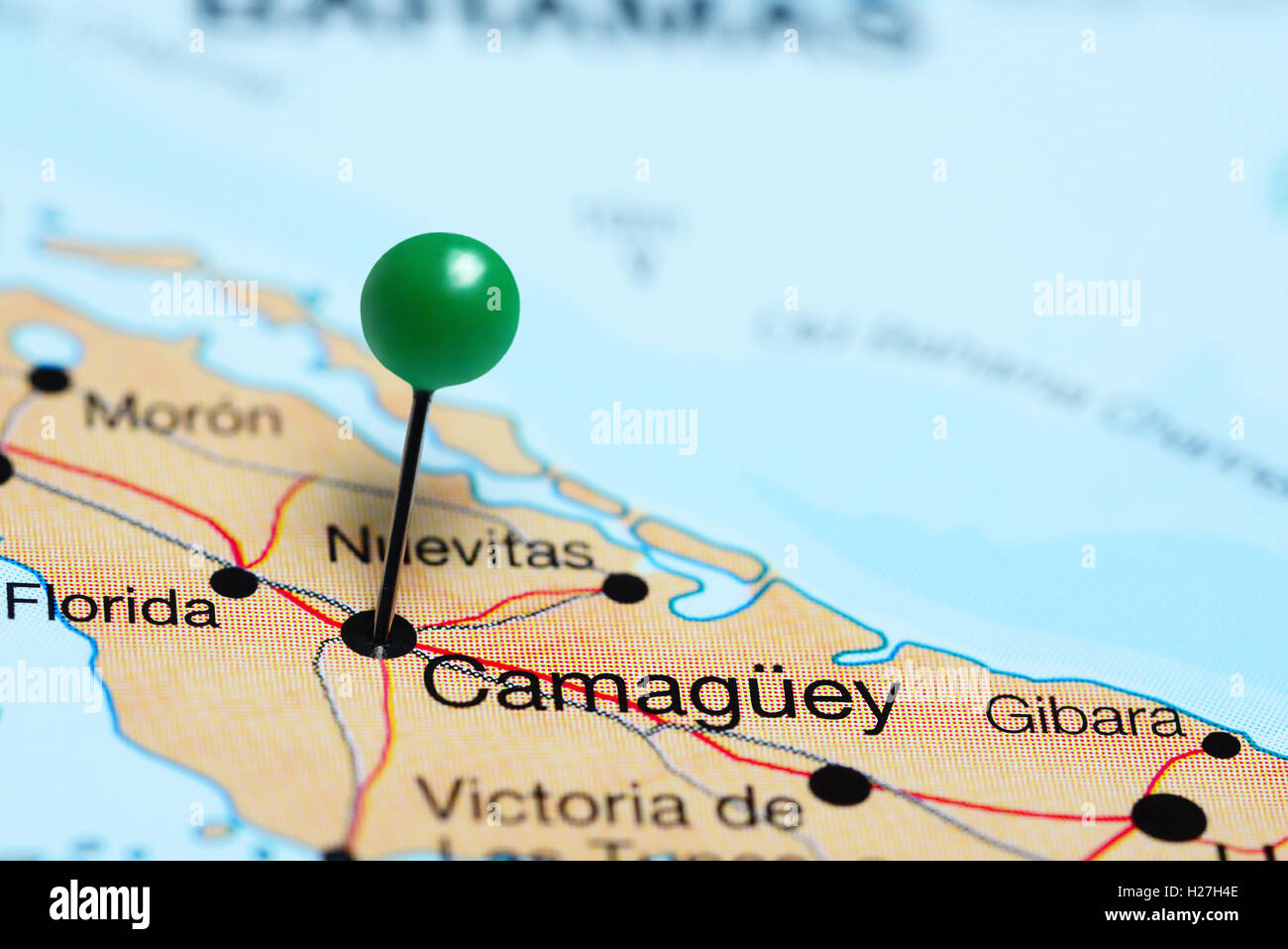 Camaguey pinned on a map of Cuba Stock Photo Royalty Free Image