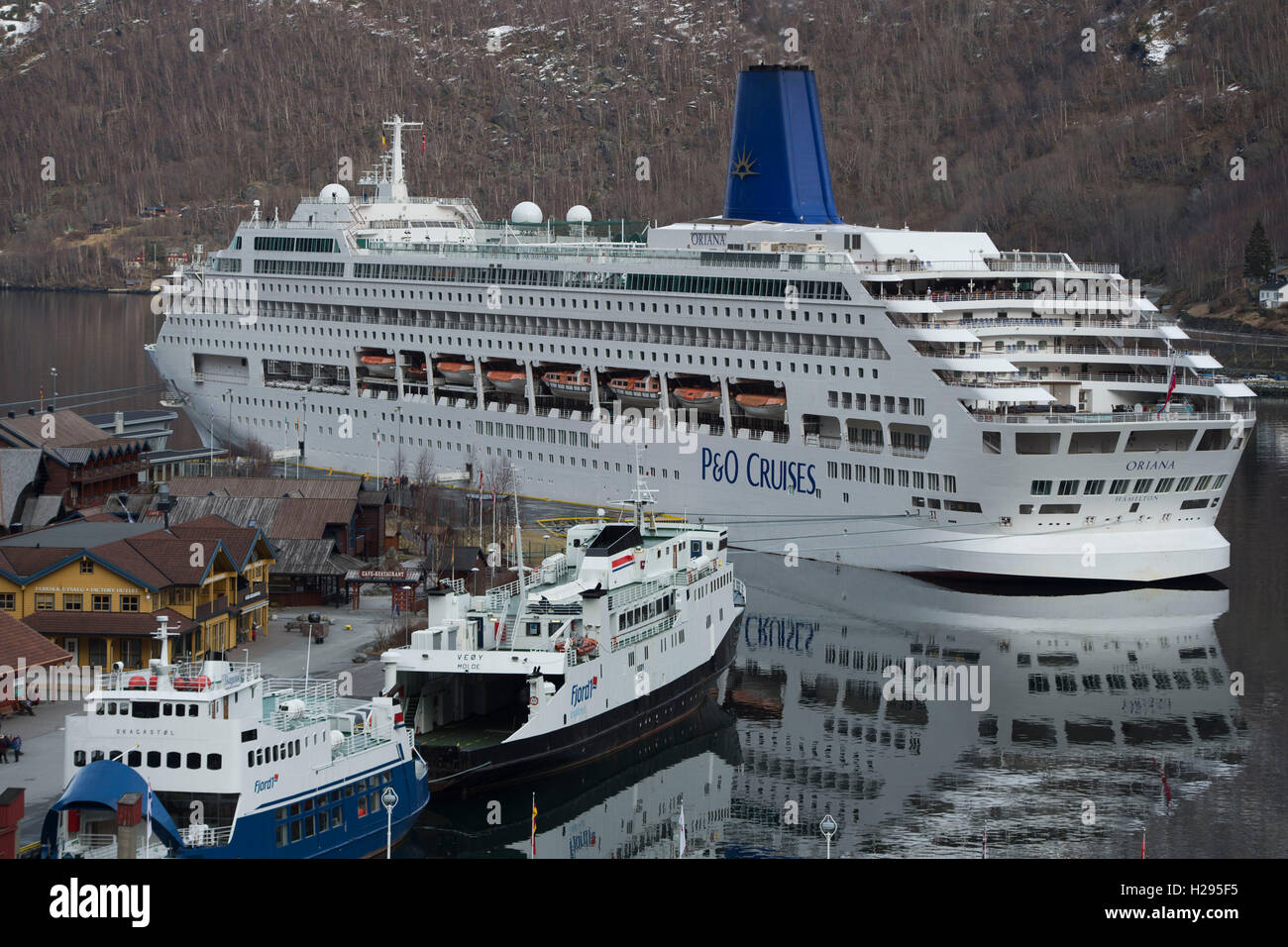 PO Cruises Oriana Cruise Ship Docked At Port In A Fjord In Flam - Oriana cruise ship