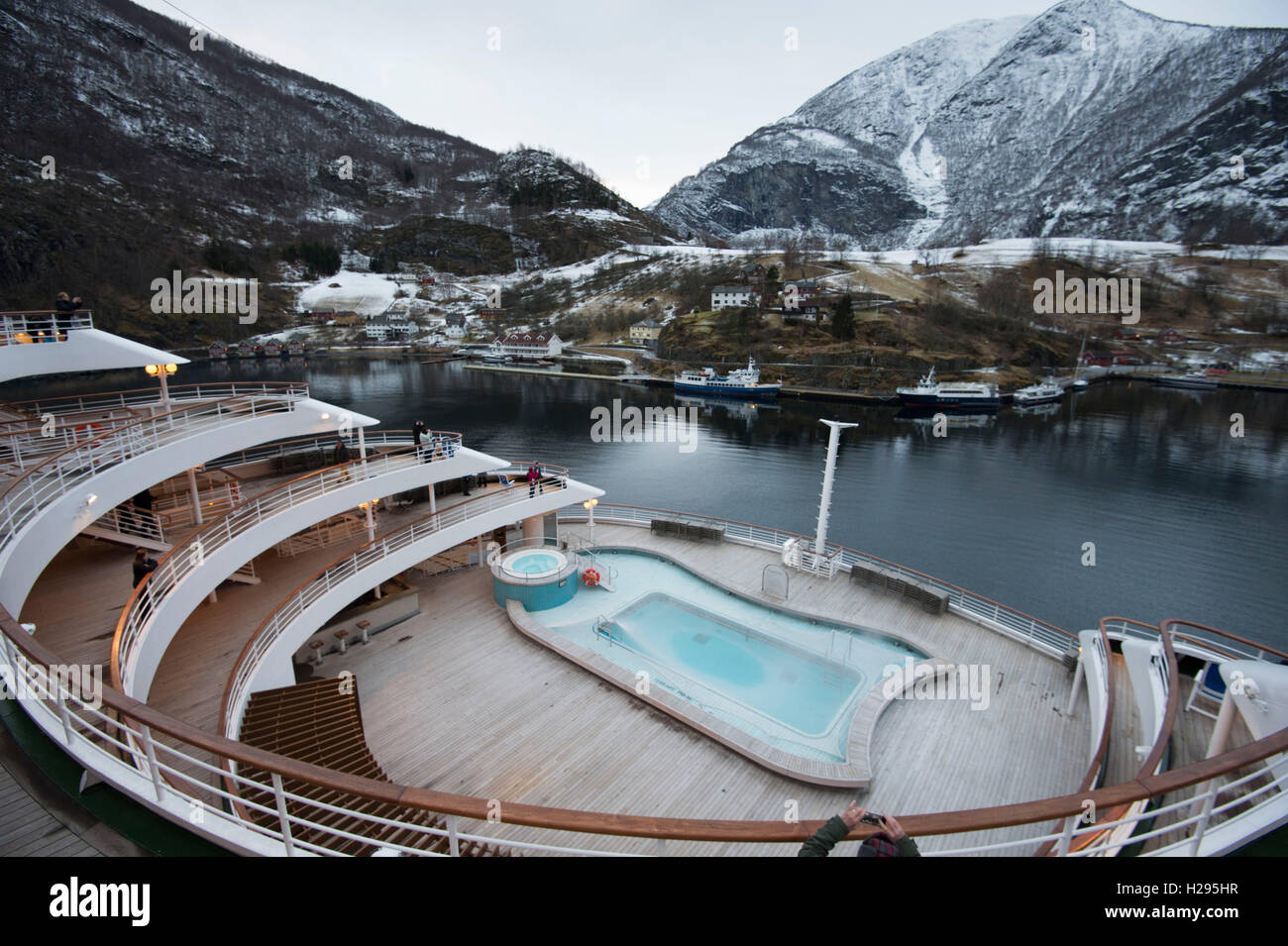 PO Oriana Cruise Ship In The Snow Coverered Fjords In Norway - Oriana cruise ship