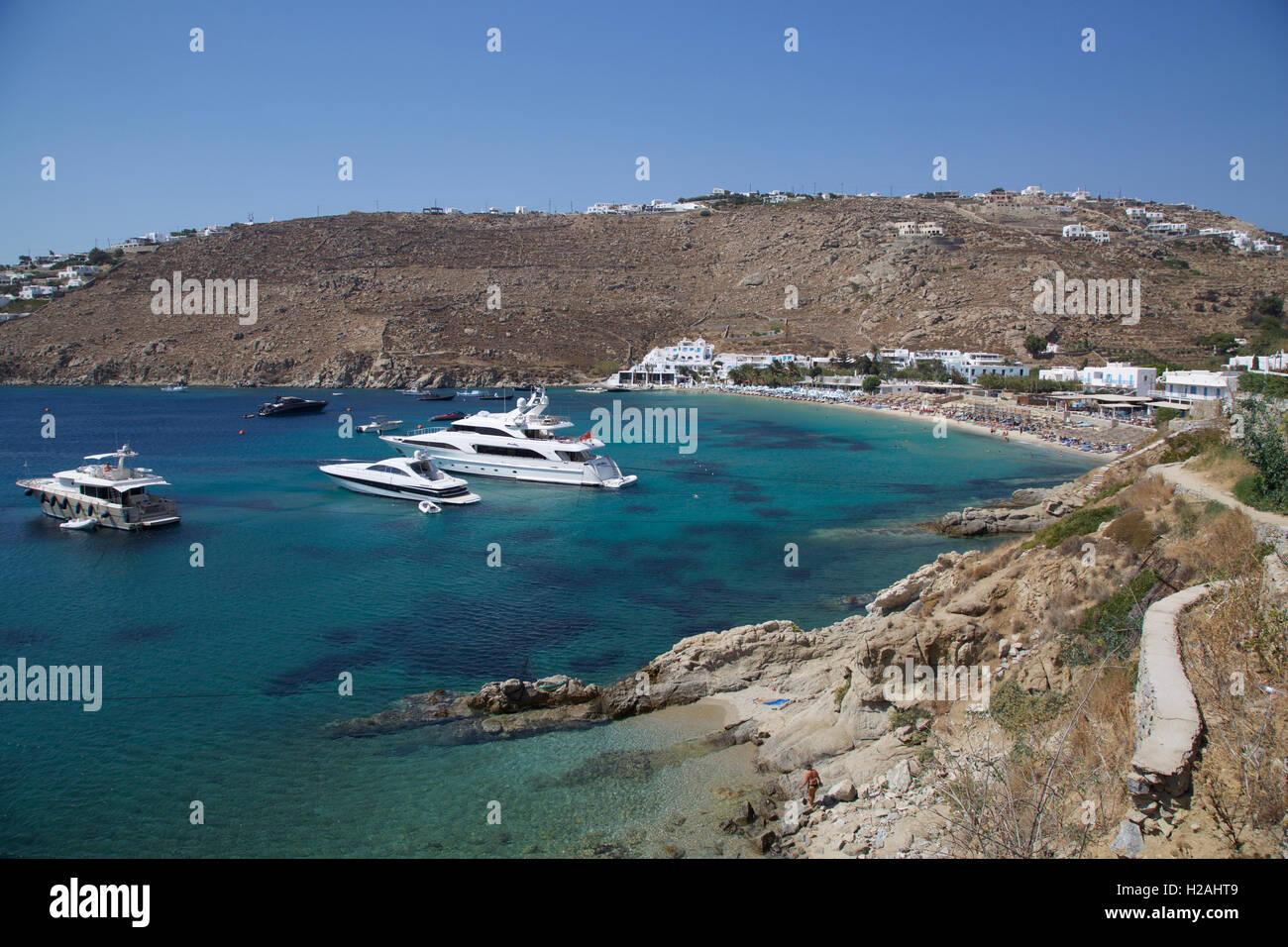 Best Island Beaches For Partying Mykonos St Barts: Psarou Beach Bay Mykonos Island Greece With Blue Sky Sea