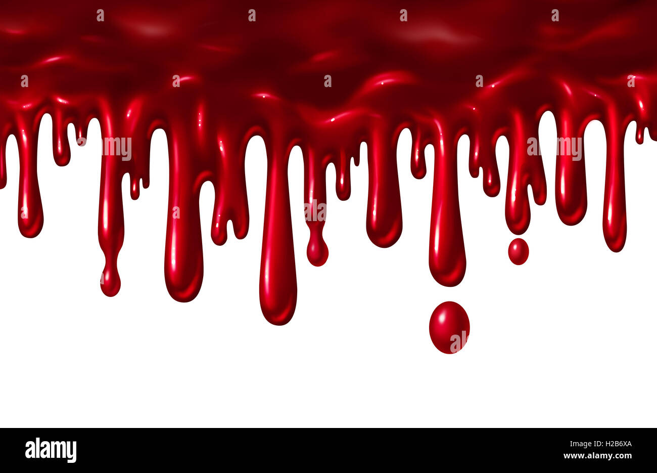 Blood liquid dripping down as a red splatter with drops falling down blood liquid dripping down as a red splatter with drops falling down as a halloween element or symbol of violence and terror isolated on a white background buycottarizona Choice Image