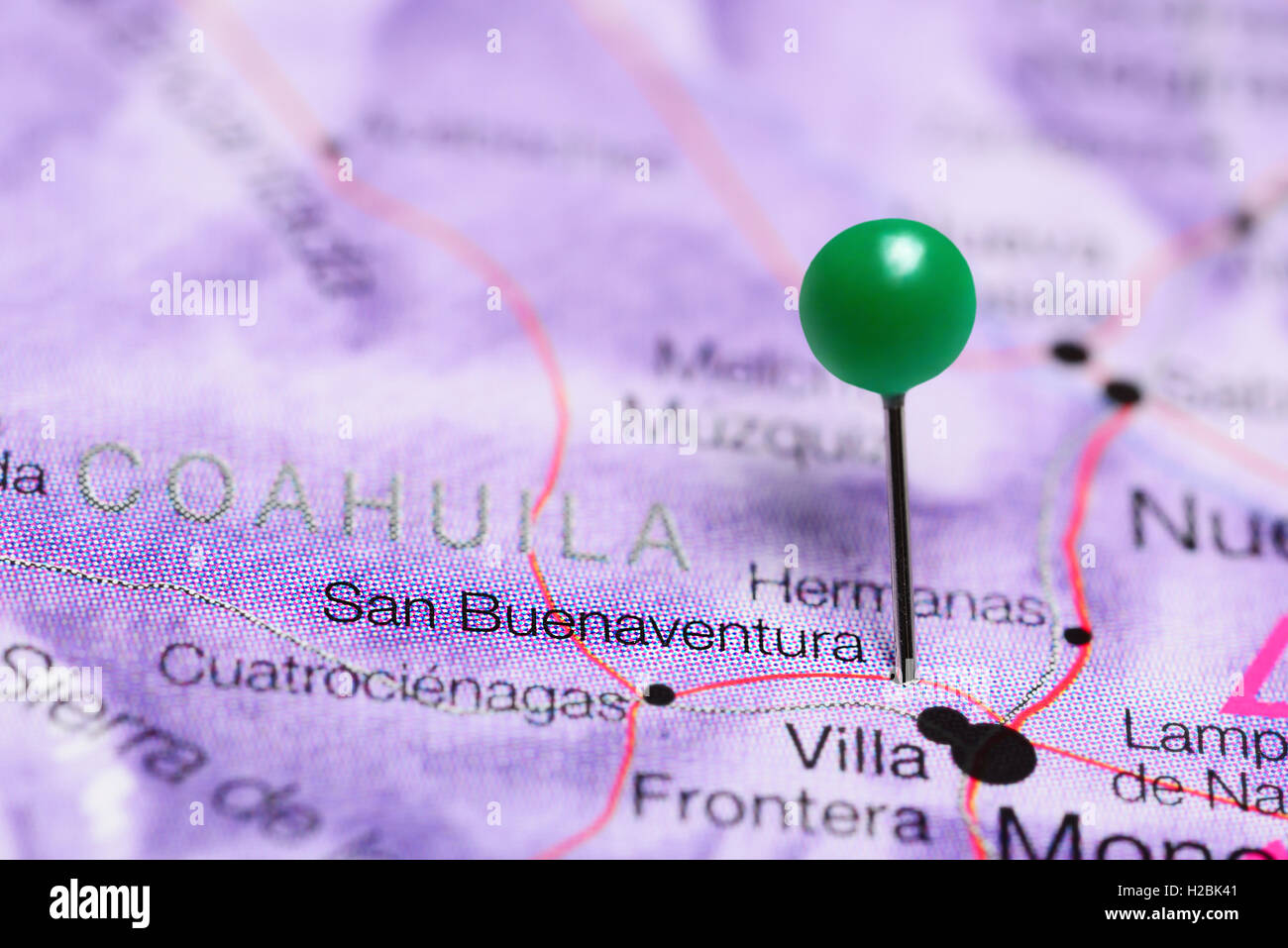 San Buenaventura pinned on a map of Mexico Stock Photo 121958369