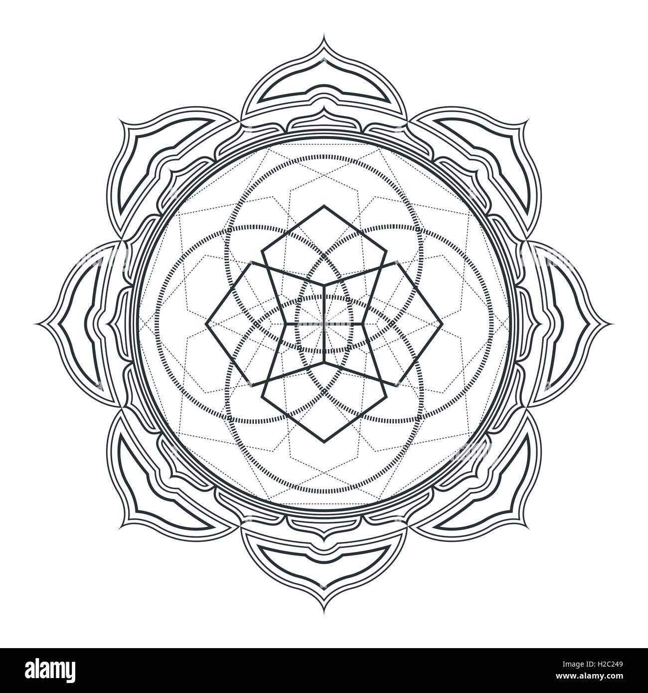 vector contour monochrome design mandala sacred geometry ...