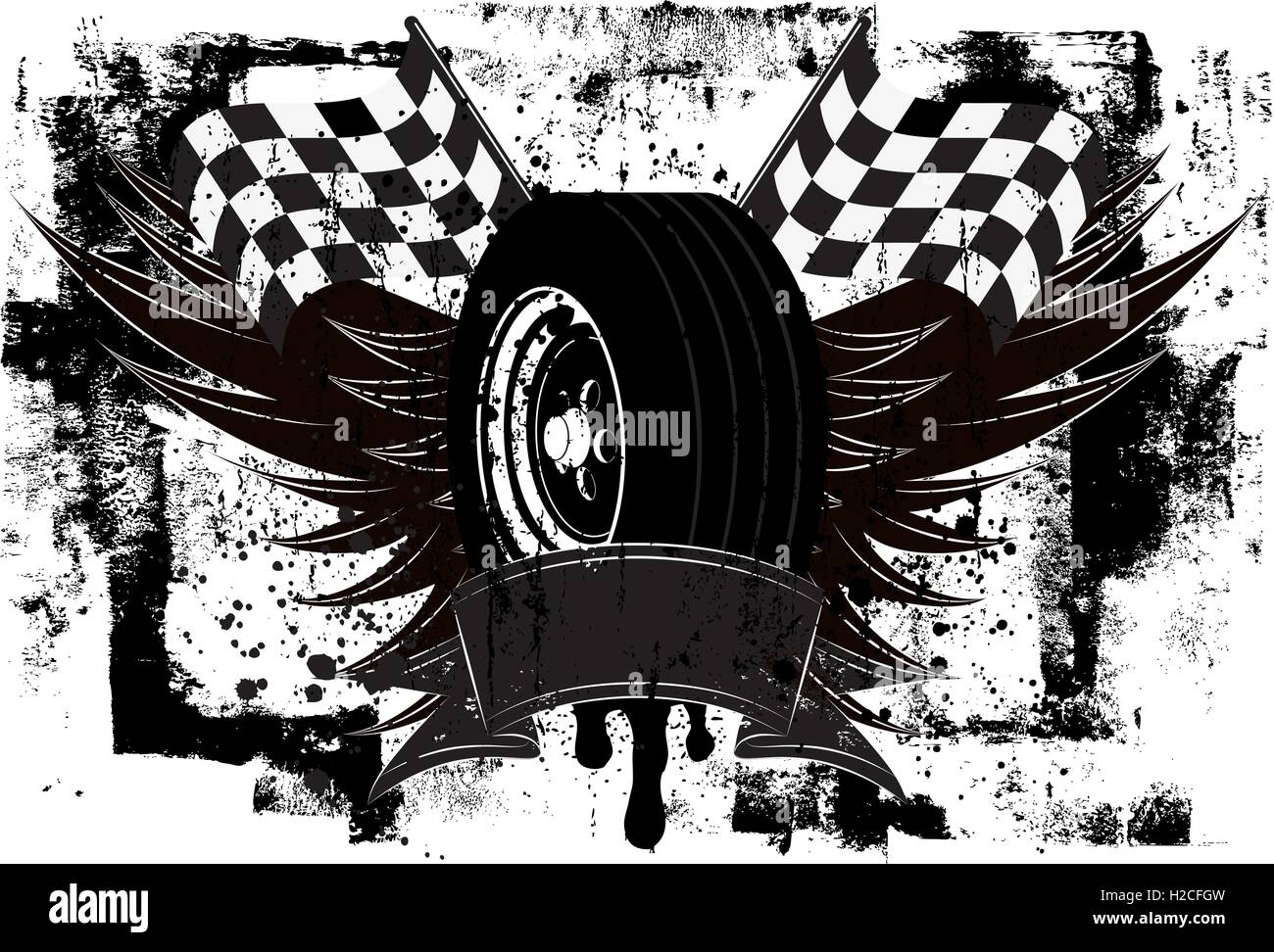 Racing Wings Insignia A race car tire in front of wings and a ... for Racing Tire Vector  146hul