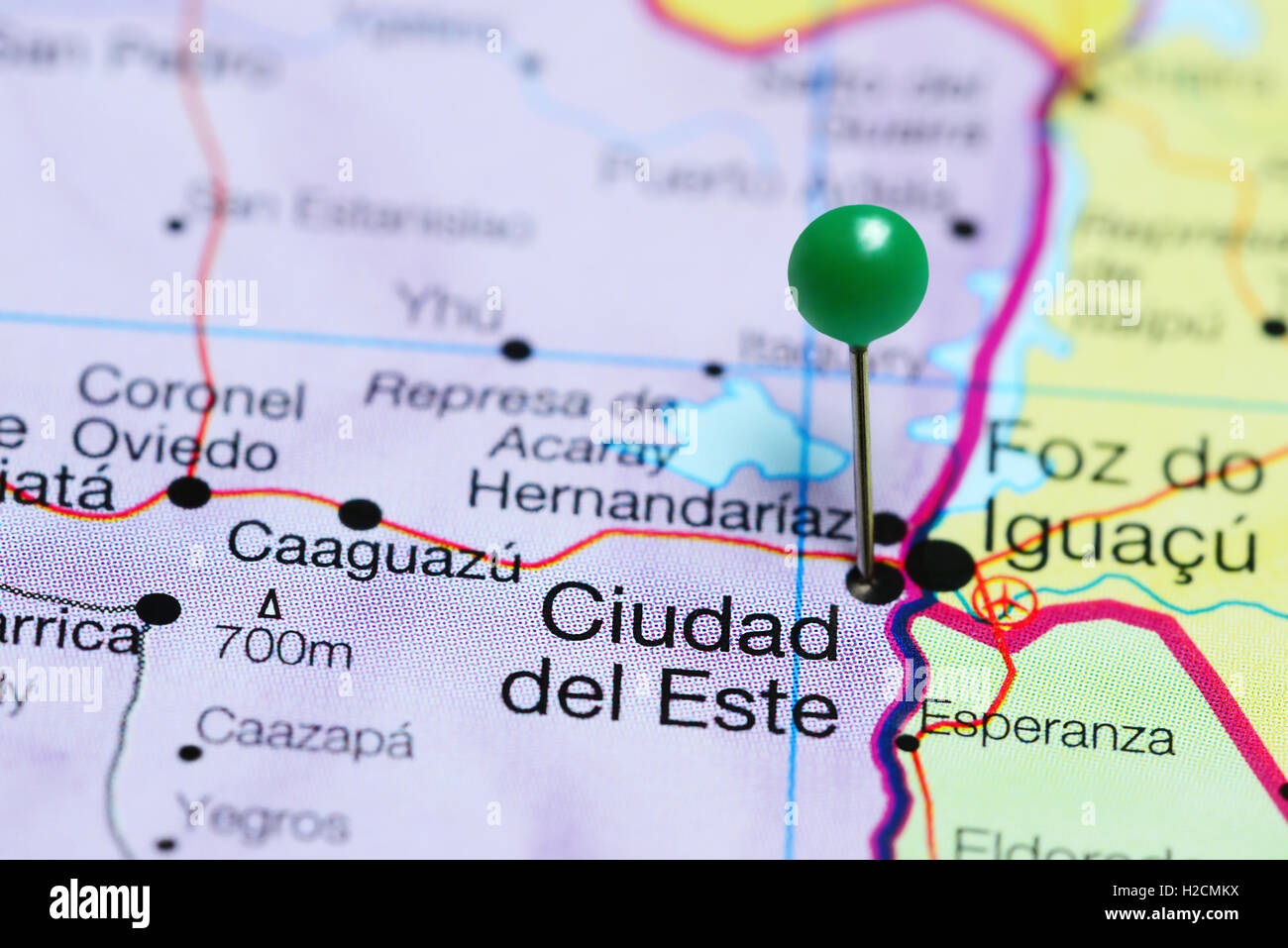 Ciudad del Este pinned on a map of Paraguay Stock Photo 121981550