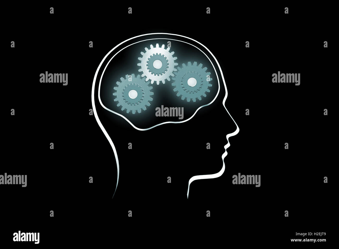 Background image rotate - Stock Photo The Contour Of A Human Head On A Dark Background Rotate The Gears The Symbol Of Mental Work 3d Illustration Render