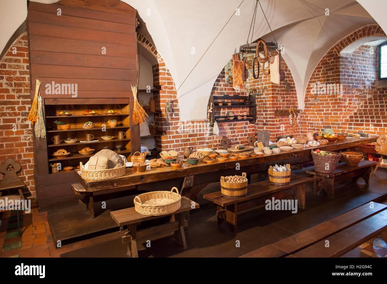 poland, malbork castle interior, feast at medieval convent kitchen