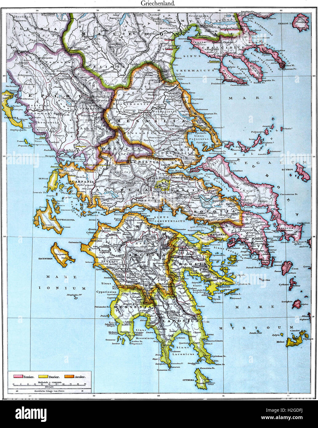 Colored Map of Ancient Greece after Putzger Atlas from 1888 Stock