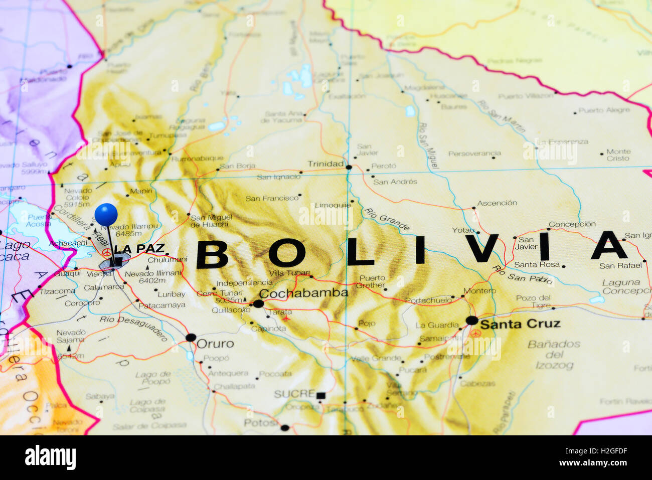 La Paz Pinned On A Map Of Bolivia Stock Photo Royalty Free Image - Map of bolivia