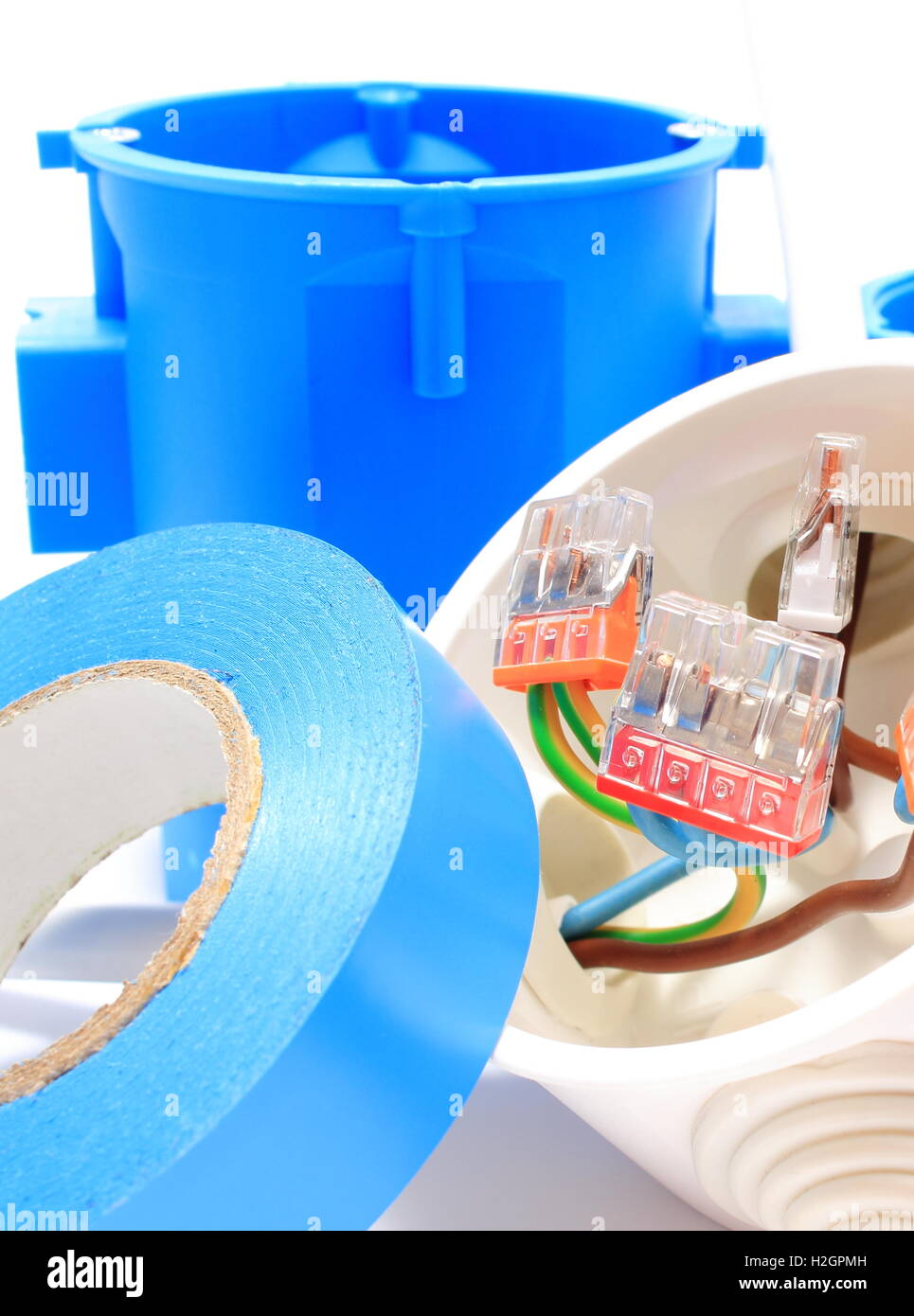 Copper Electrical Components : Copper wire connections in electrical box and components