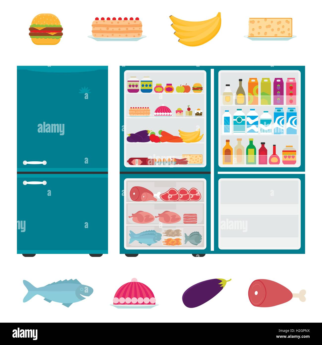 full refrigerator clipart. illustration of closed and open refrigerator full food in flat style. fridge with hamburger clipart h